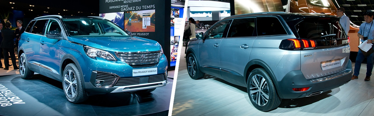 Peugeot 3008 suv and Peugeot 5008 suv at paris motor show