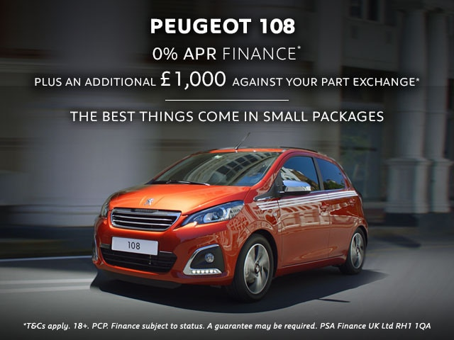 Peugeot 108 offer 0% APR and part exchange bonus