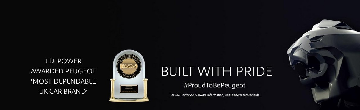 PEUGEOT - MOST DEPENDABLE UK CAR BRAND - J D POWER AWARDS