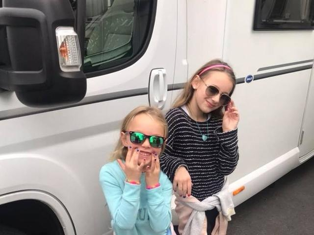 Kids with Peugeot motorhome