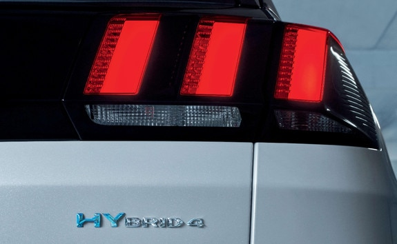 PEUGEOT SUV 3008 HYBRID4 -  right rear lights and Hybrid badge