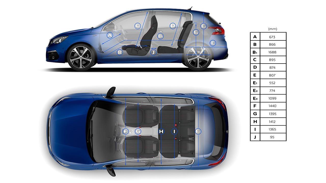 Peugeot 308 interior dimensions