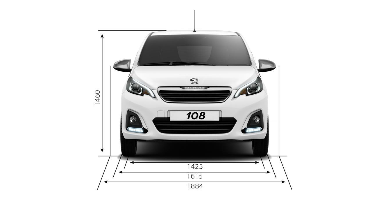 Peugeot 108 width dimensions