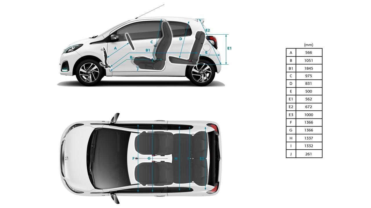 Peugeot 108 interior dimensions