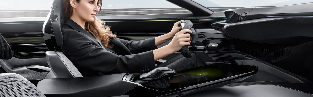 Woman driving Peugeot Instinct Concept car