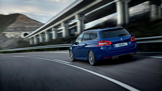 Peugeot 308 SW rear view blue exemplary driving