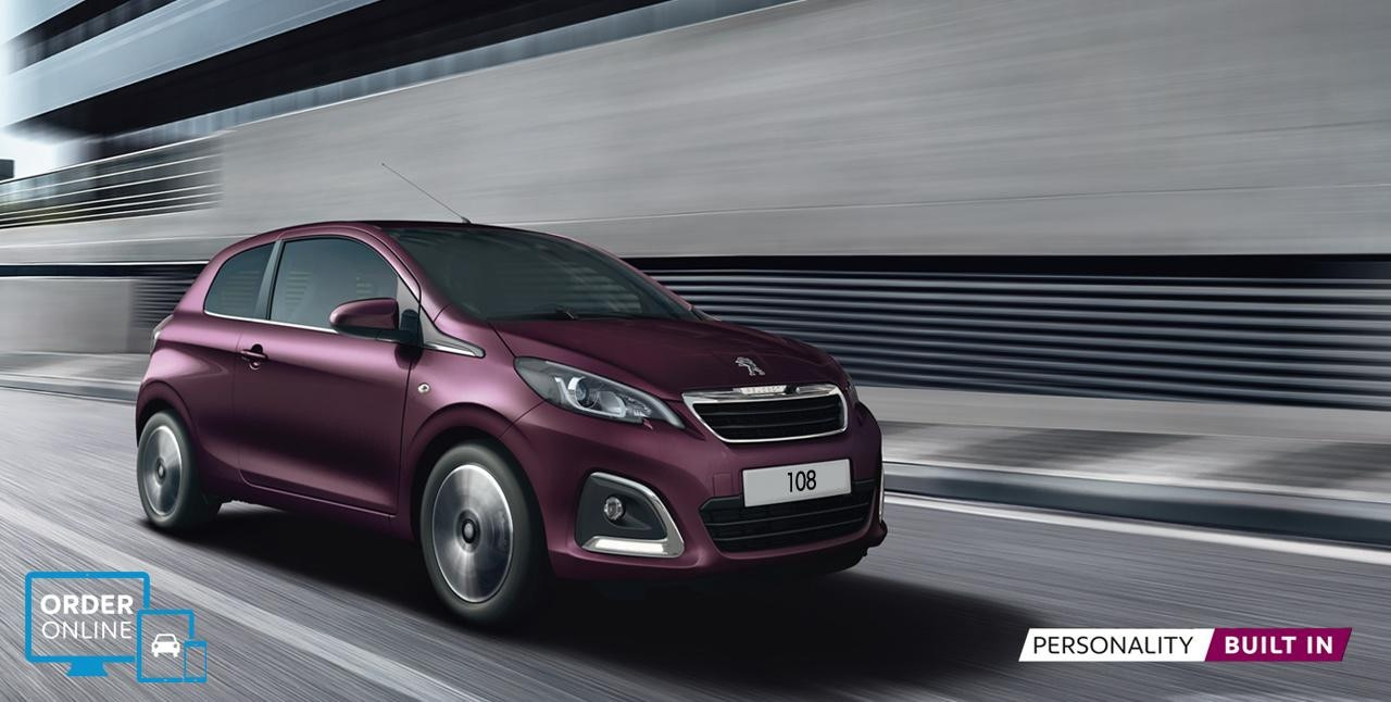 Peugeot 108 hatchback purple